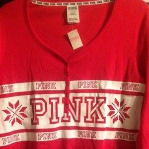 PINK Victoria's Secret Intimates & Sleepwear - Victoria's Secret Pink Sleep Pajama holiday Shirt